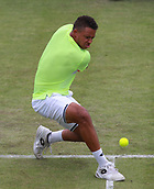 June 12th 2017,  Nottingham, England; WTA Aegon Nottingham Open Tennis Tournament day 3; 18 yr old Jay Clarke of Great Britain puts all his effort into a backhand in his match against Yuki Bhambri of India