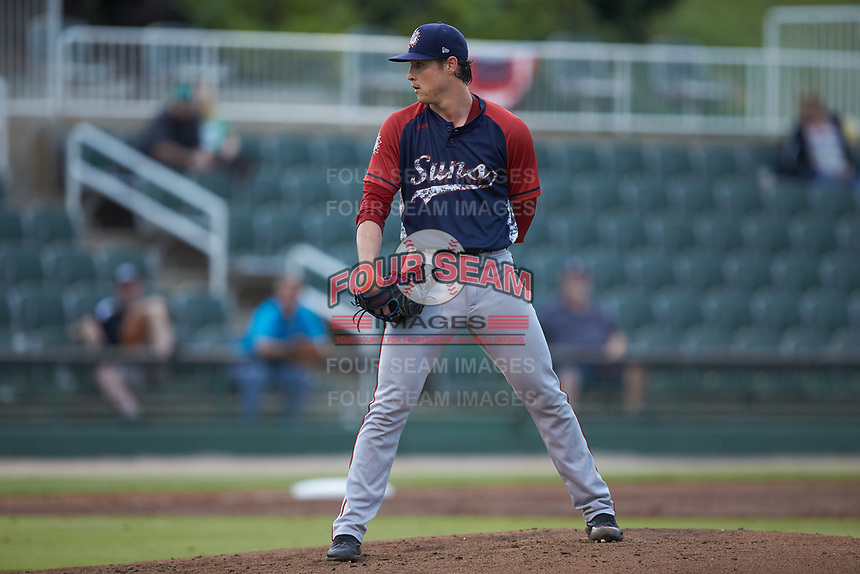 Hagerstown Suns starting pitcher Ryan Williamson (15) looks to his catcher for the sign against the Kannapolis Intimidators at Kannapolis Intimidators Stadium on August 27, 2019 in Kannapolis, North Carolina. The Intimidators defeated the Suns 5-4. (Brian Westerholt/Four Seam Images)