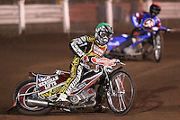 Heat 5: Hans Andersen (geen) and Leigh Lanham (red) - Lakeside Hammers vs Coventry Bees - Craven Shield Final 1st Leg at The Arena Essex Raceway, Lakeside - 16/10/08 - MANDATORY CREDIT: Rob Newell/TGSPHOTO