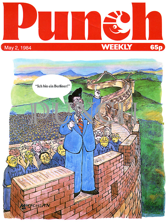 Punch Front Cover - May 2nd 1984 - U.S. President Ronald Reagan makes an announcement on the Great Wall of China