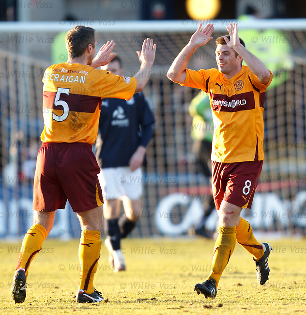 Steve Jennings celebrates his goal withteam mate Steven Craigan