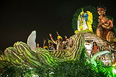 Imperatriz Leopolinense Samba School, Carnival, Rio de Janeiro, Brazil, 26th February 2017. Float carrying the Indians from the Alto Xingu Indigenous Park. Tafukumã Kalapalo and Jakalo Kuikuro.