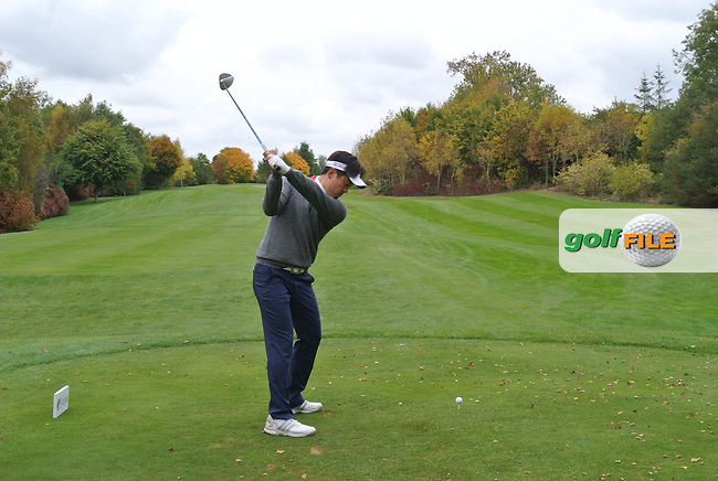 Daniel Im (USA) on the 15th tee during Round 3 of the Volopa Irish Challenge in Tullow, Co. Carlow on Saturday 10th October 2015.<br /> Picture:  Thos Caffrey / www.golffile.ie