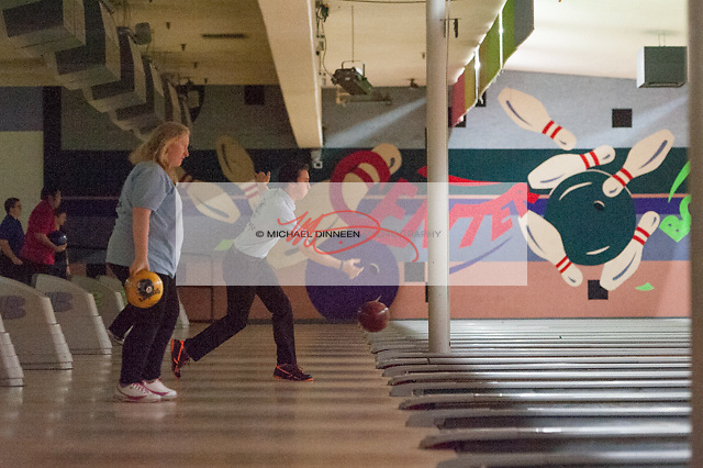 Chugiak's Janna Knaak, left, prepares to bowl at Central Bowl, Thursday, Dec. 8, 2016.  Photo for the Star by Michael Dinneen