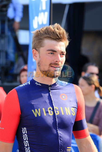 Jonathan Dibben (GBR) Team Wiggins arrives for the start of Stage 2, the Nakheel Stage, of the 2016 Dubai Tour starting at the Dubai International Marine Club and running 188km to Palm Jumeirah Atlantis, Dubai, United Arab Emirates. 4th February 2016.<br /> Picture: Eoin Clarke | Newsfile<br /> <br /> <br /> All photos usage must carry mandatory copyright credit (&copy; Newsfile | Eoin Clarke)