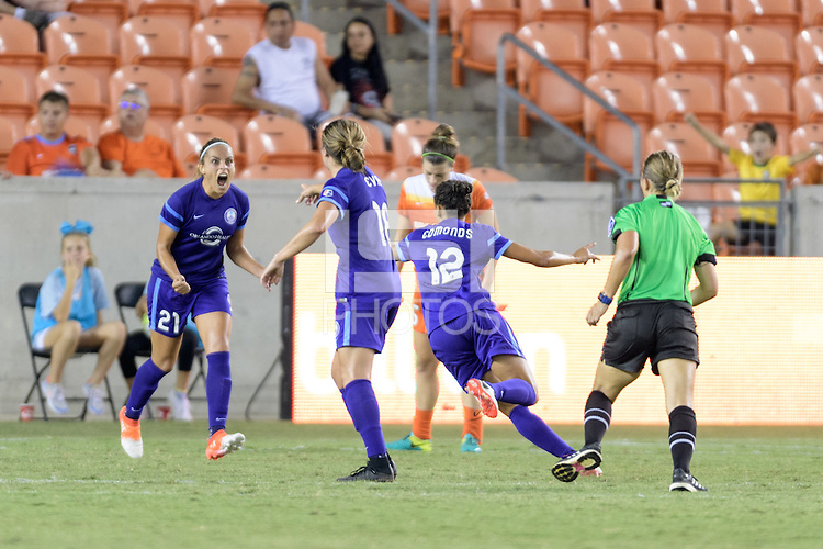 Houston, TX - Saturday Sept. 03, 2016: Monica Hickman Alves, Maddy Evans, Kristen Edmonds celebrates scoring during a regular season National Women's Soccer League (NWSL) match between the Houston Dash and the Orlando Pride at BBVA Compass Stadium.