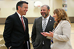 From left, Nevada Gov. Brian Sandoval, Assemblyman Paul Anderson, R-Las Vegas, and Assemblywoman Marilyn Kirkpatrick, D-North Las Vegas, talk before Sandoval signs an anti-bullying bill into law at Carson Middle School in Carson City, Nev., on Wednesday, May 20, 2015. <br /> Photo by Cathleen Allison