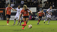 Cameron McGeehan of Luton Town puts his side 1-0 up after converting from the penalty spot during the Sky Bet League 2 match between Luton Town and Newport County at Kenilworth Road, Luton, England on 16 August 2016. Photo by Liam Smith.