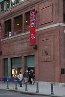 October 31, 2018: The 2018 World Series championship banner hangs outside Fenway Park in Boston, Mass.  Eric Canha/CSM