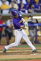 LSU Tigers second baseman Kramer Robertson #3 swings the bat during the Southeastern Conference baseball game against the Georgia Bulldogs on March 22, 2014 at Alex Box Stadium in Baton Rouge, La. The Tigers defeated the Bulldogs 2-1. (Andrew Woolley/Four Seam Images)