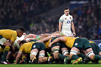 George Ford of England watches a scrum. Old Mutual Wealth Series International match between England and Australia on November 18, 2017 at Twickenham Stadium in London, England. Photo by: Patrick Khachfe / Onside Images