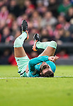 Gerard Pique Bernabeu of FC Barcelona lies injured on the pitch during their Copa del Rey Round of 16 first leg match between Athletic Club and FC Barcelona at San Mames Stadium on 05 January 2017 in Bilbao, Spain. Photo by Victor Fraile / Power Sport Images