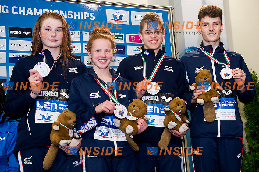 Team Great Britain GBR<br /> 4X100 Medley Mixed relay Final Bronze Medal<br /> LEN 43rd Arena European Junior Swimming Championships<br /> Hodmezovasarhely, Hungary <br /> Day04 09-07-2016<br /> Photo Andrea Masini/Deepbluemedia/Insidefoto