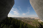 Jerusalem, Israel, Yad Vashem, the Holocaust Martyrs' and Heroes' Authority. The view at the northern exit of the new Holocaust History Museum designed by Moshe Safdie (2005)<br />