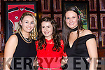 Mairead Doherty, Celina McSweeney and Leanne Kelliher at the Beaufort GAA social in the Killarney Avenue Hotel on Friday night