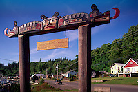 Kwakwaka'wakw (Kwakiutl) Welcome Sign to Namgis First Nation at Alert Bay, Cormorant Island, BC, British Columbia, Canada - Sisiutl Figure on Poles