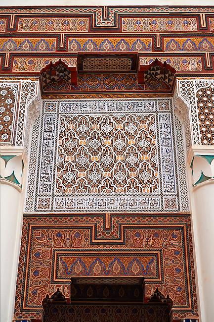 Berber Arabesque Morcabe decorative plasterwok  of the Marrakesh museum in the Dar Menebhi Palace, Marrakesh, Morocco