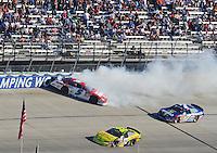 Sept. 20, 2008; Dover, DE, USA; Nascar Nationwide Series driver Landon Cassill (5) spins during the Camping World RV 200 at Dover International Speedway. Mandatory Credit: Mark J. Rebilas-