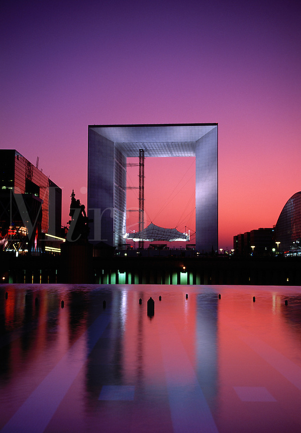 La Grande Arche La Defense at sunset Paris France