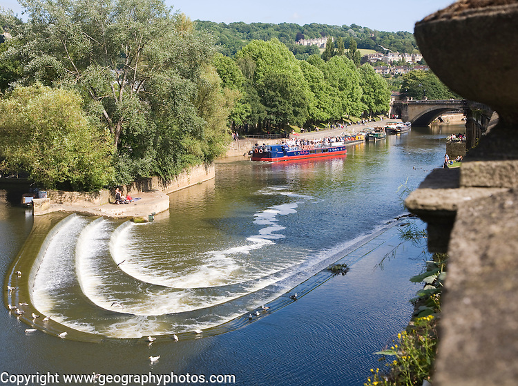 Boats and weir on the River Avon, Bath, Somerset, England