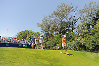 Suzann Pettersen (NOR) and Inbee Park (KOR) depart the first tee during Sunday's final round of the 2017 KPMG Women's PGA Championship, at Olympia Fields Country Club, Olympia Fields, Illinois. 7/2/2017.<br /> Picture: Golffile | Ken Murray<br /> <br /> <br /> All photo usage must carry mandatory copyright credit (&copy; Golffile | Ken Murray)