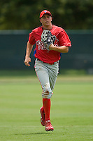 Kelly Dugan #16 of the GCL Phillies jogs off the field between innings at Disney's Wide World of Sports Complex, July 13, 2009, in Orlando, Florida.  (Photo by Brian Westerholt / Four Seam Images)