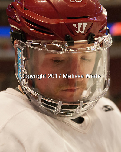 Ryan Donato (Harvard - 16) - The Harvard University Crimson practiced at the United Center on Wednesday, April 5, 2017, in Chicago, Illinois.