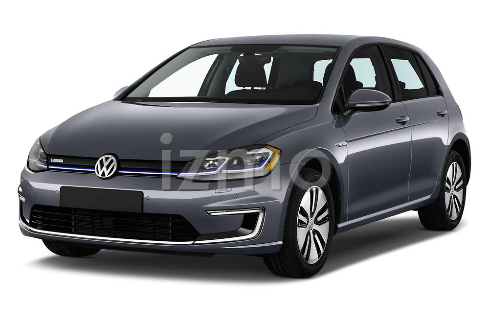 2017 Volkswagen E-Golf SE 5 Door Hatchback angular front stock photos of front three quarter view