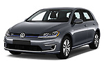 2017 Volkswagen E-Golf SE 5 Door Hatchback angular front stock photos of front three quarter view