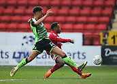 24th March 2018, The Valley, London, England;  English Football League One, Charlton Athletic versus Plymouth Argyle; Tariqe Fosu of Charlton Athletic takes a shot passed Oscar Threlkeld of Plymouth Argyle