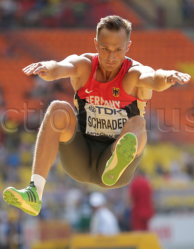 10.08.2013. Moscow, Russia.  Michael Schrader of Germany competes in the Men's Decathlon Long Jump event at the 14th IAAF World Championships in Athletics at Luzhniki Stadium in Moscow, Russia, 10 August 2013.