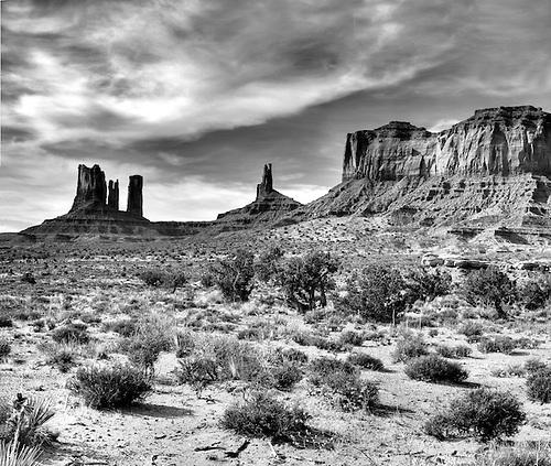 Spires,buttes and pinnacles make up the sandstone landscape at Monument Valley Tribal Park on the Utah-Arizona border.