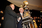 010213--Oregon Ducks Head Coach Chip Kelly and Kansas State Head Coach Bill Snyder pose together for pictures with the Tostitos Fiesta Bowl Trophy during a press conference at the Camelback Inn in Scottsdale, Arizona. .Photo by Jaime Valdez