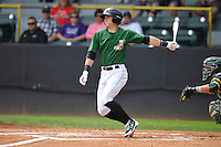 Clinton LumberKings Braden Bishop (1) swings during the Midwest League game against the Beloit Snappers at Ashford University Field on June 12, 2016 in Clinton, Iowa.  The LumberKings won 1-0.  (Dennis Hubbard/Four Seam Images)