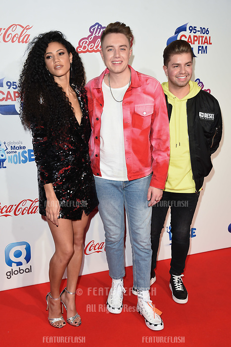 LONDON, UK. December 08, 2018: Vick Hope, Roman Kemp &amp; Sonny Jay at Capital&rsquo;s Jingle Bell Ball 2018 with Coca-Cola, O2 Arena, London.<br /> Picture: Steve Vas/Featureflash