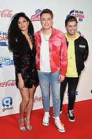 LONDON, UK. December 08, 2018: Vick Hope, Roman Kemp & Sonny Jay at Capital's Jingle Bell Ball 2018 with Coca-Cola, O2 Arena, London.<br /> Picture: Steve Vas/Featureflash