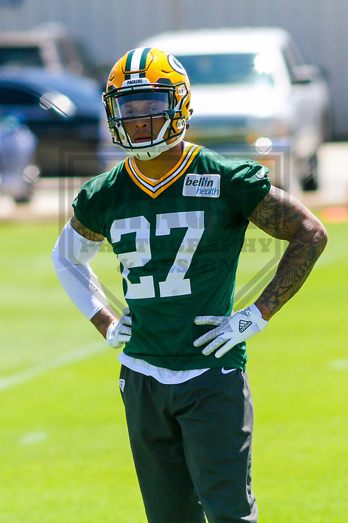 Green Bay Packers safety Josh Jones (27) during a minicamp practice on June 15, 2017 at Clarke Hinkle Field in Green Bay, Wisconsin.  (Brad Krause/Krause Sports Photography)