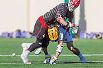 Santa Barbara, CA 04/16/16 - Sean Harvey (UCSB #22) and Simon Jenkin (Chapman #21) in action during the final regular MCLA SLC season game between Chapman and UC Santa Barbara.  Chapman defeated UCSB 15-8.