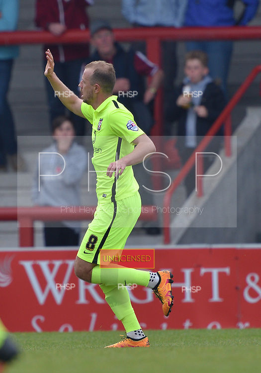 07/05/2016 Sky Bet League Two Morecambe v York City<br /> Luke Summerfield celebrates after scoring the opening goal for York City