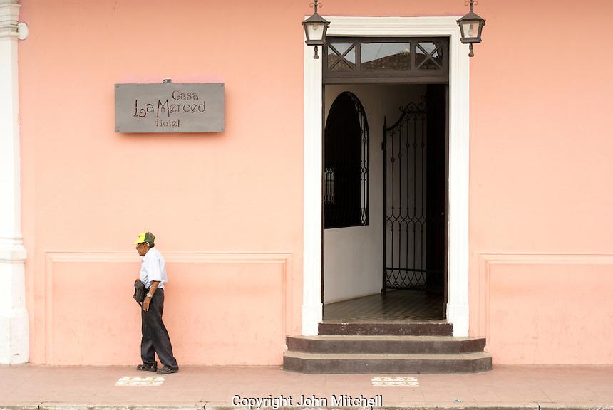 Entrance to Casa La Merced Hotel in the Spanish colonial city of Granada, Nicaragua