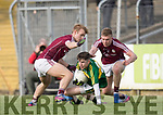 Kerry's Jordan Kiely and Galway's Liam Kelly and Dylan McHugh in action during the Kerry V Galway Under 21 Football Championship semi final at Cusack Park, Ennis on Sunday. Photograph by Eamon Ward