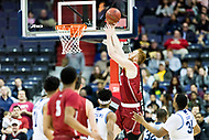 Washington, DC - MAR 10, 2018: Saint Joseph's Hawks forward Anthony Longpre' (12) goes up strong to the basket during the semi final match up of the Atlantic 10 men's basketball championship between Saint Joseph's and Rhode Island at the Capital One Arena in Washington, DC. (Photo by Phil Peters/Media Images International)