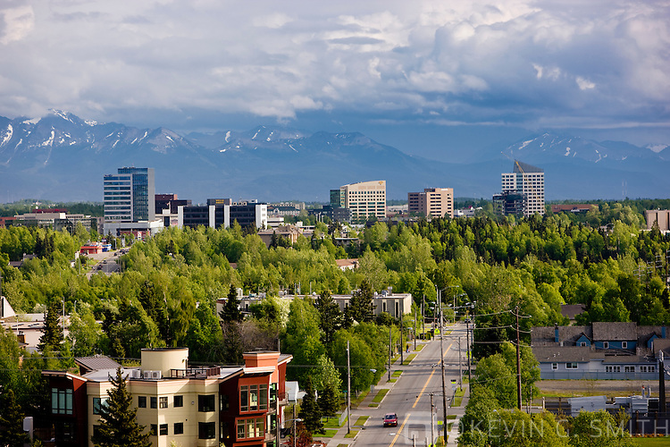 View of midtown Anchorage looking south toward the Kenai Mountains, summer, Anchorage, Southcentral Alaska, USA.