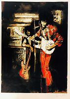 BNPS.co.uk (01202 558833)<br /> Pic: OmegaAuctions/BNPS<br /> <br /> PICTURED: A painting of Jimi Hendrix features in the collection<br /> <br /> A huge collection of artwork by legendary Rolling Stones singer Ronnie Wood has emerged for sale for a whopping £25,000.<br /> <br /> The group of 49 prints have been created by the 72-year-old rocker over a number of years and depict a host of famous faces.<br /> <br /> Among the celebrities to be given the artist's treatment are the likes of Mohammed Ali, Elvis Presley and even his own bandmates.