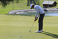 Tommy Fleetwood (ENG) takes his birdie putt on the 12th green during Thursday's Round 1 of the 2017 Omega European Masters held at Golf Club Crans-Sur-Sierre, Crans Montana, Switzerland. 7th September 2017.<br /> Picture: Eoin Clarke | Golffile<br /> <br /> <br /> All photos usage must carry mandatory copyright credit (&copy; Golffile | Eoin Clarke)