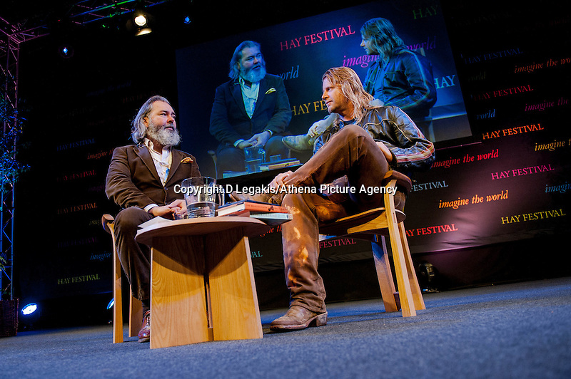 Thursday  29 May 2014, Hay on Wye, UK<br /> Pictured: John Mitchinson talks to Rupert Isaacson<br /> Re: The Hay Festival, Hay on Wye, Powys, Wales UK.