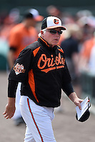 Baltimore Orioles manager Buck Showalter (26) before a spring training game against the Pittsburgh Pirates on March 23, 2014 at Ed Smith Stadium in Sarasota, Florida.  Baltimore and Pittsburgh tied 7-7.  (Mike Janes/Four Seam Images)