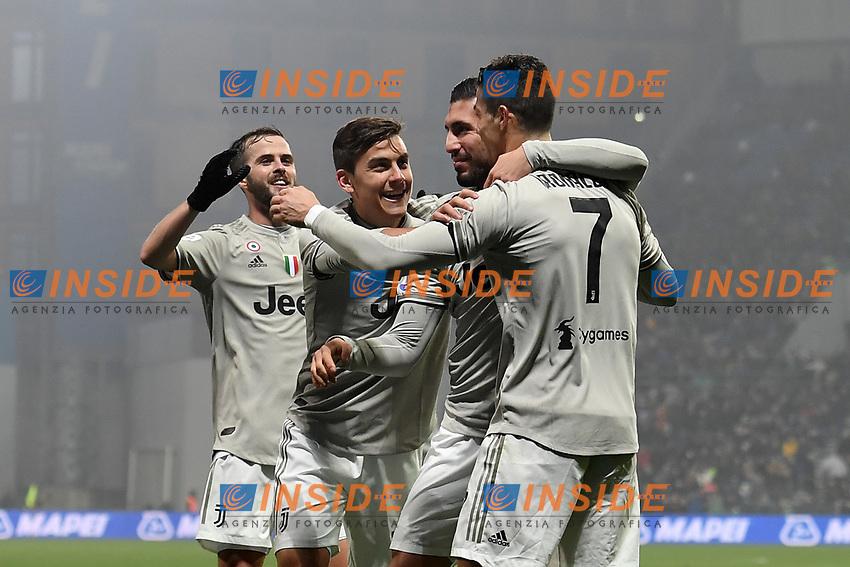 Emre Can Juventus celebrates with team mates Cristiano Ronaldo, Paulo Dybala after scoring a goal.<br /> Reggio Emilia 10-2-2019 Stadio Mapei, Football Serie A 2018/2019 Sassuolo - Juventus<br /> Foto Andrea Staccioli / Insidefoto