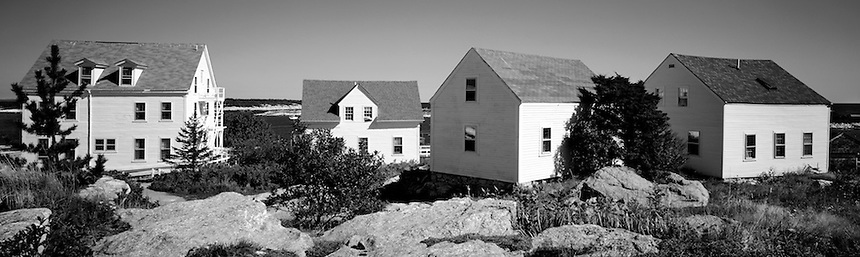 Nineteenth century cottages are part of the Star Island conference center, Isles of Shoals, off the coast of New Hampshire.