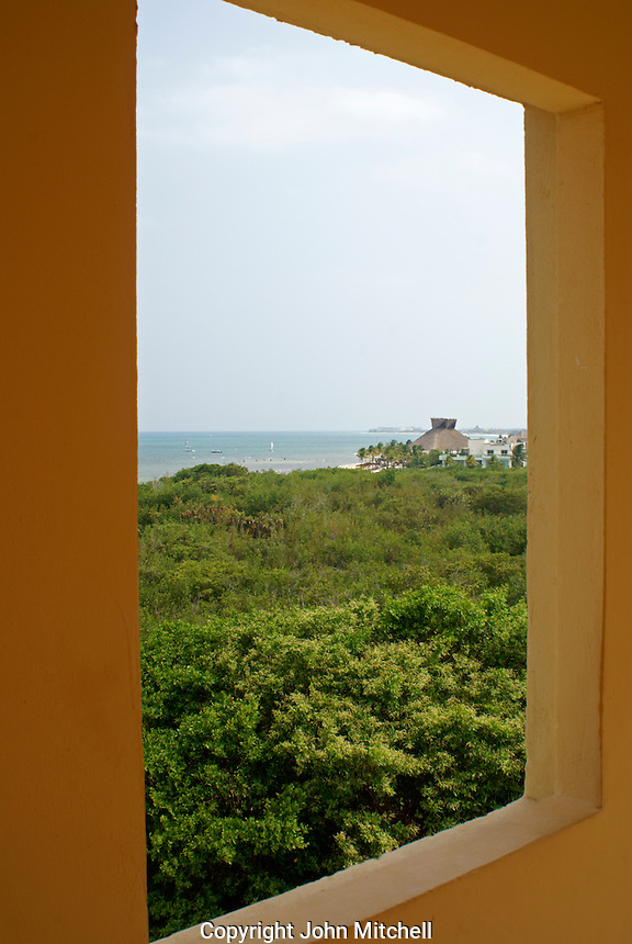 View of jungle and Caribbean coastline from Hacienda Tres Rios on the Riviera Maya, Quintana Roo, Mexico.